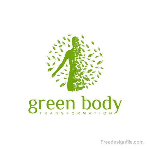 Green Body logo creative design vector