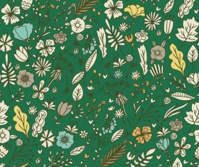 Green background flowers and leaves seamless pattern vector