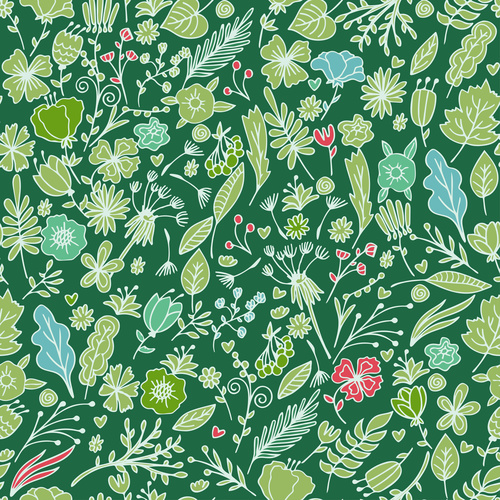Green leaf and safflower seamless pattern background vector