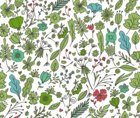 Green plants and flowers seamless pattern background vector