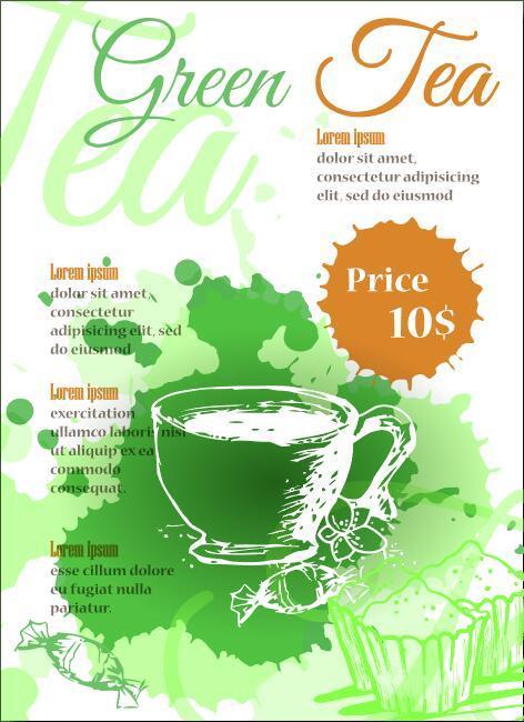 Green tea cover vectors