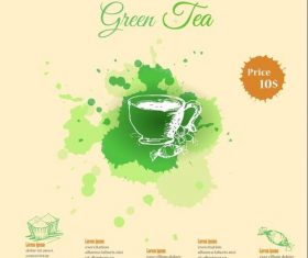 Green tea menu vectors