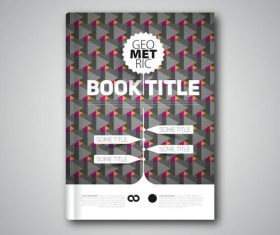 Grey geometric book cover vectors