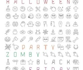 Halloween linear icons set vector