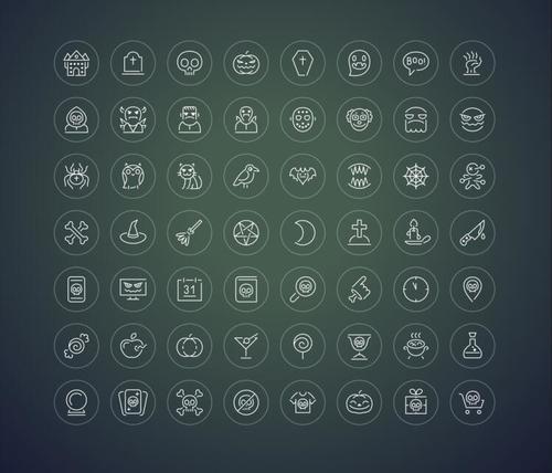 Halloween thin icon vector