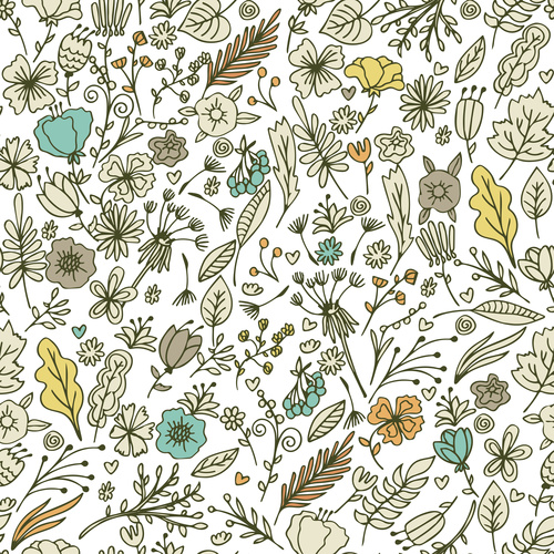 Hand drawn Floral Seamless Pattern with Flowers and Leaves vector
