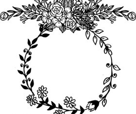 Hand drawn black flower frame decorative vector