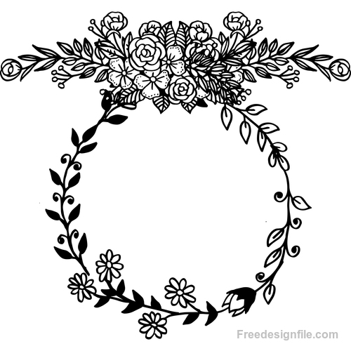Hand drawn black flower frame decorative vector
