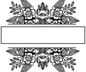 Hand drawn black flower vector background illustration 01