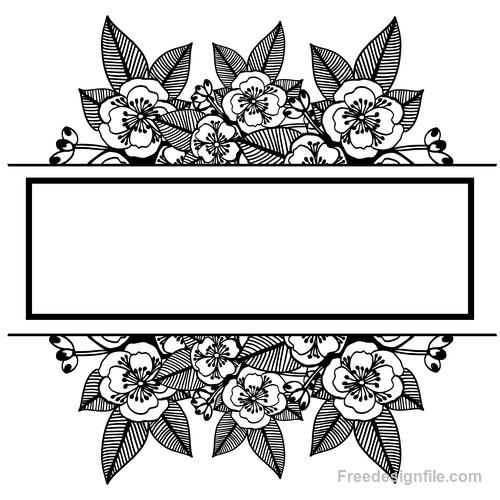 Hand drawn black flower vector background illustration 02