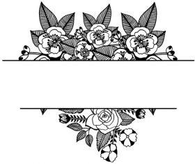 Hand drawn black flower vector background illustration 03