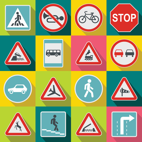 Highway logos icons flat style vector