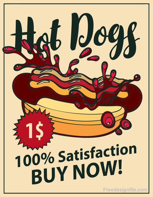 Hot dogs retro flyer vector material