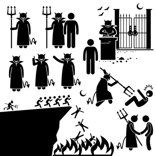 Human and demon icons vector