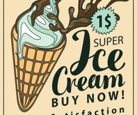 Ice cream flyer vector material