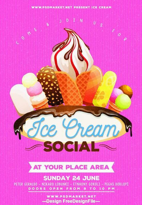 Ice cream poster and flyer psd template
