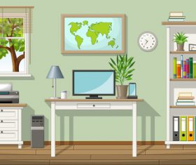 Illustration of a classic living room and folders on shelves vectors