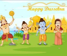 Indian Dussehra cartoon vectors 01