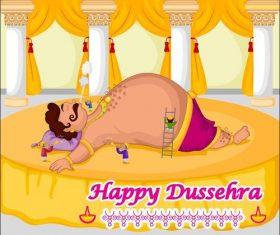 Indian Dussehra cartoon vectors 02