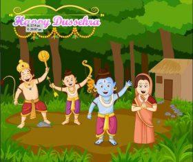 Indian Dussehra cartoon vectors 03
