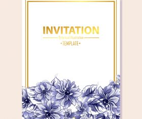 Invitation card template with blue flower vector