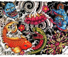 Japanise tattoo poster vector