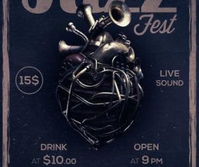 Jazz fest poster and flyer psd template