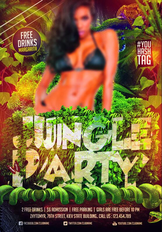 Jungle party poster and flyer psd template