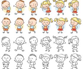 Kids emotions cartoon vector