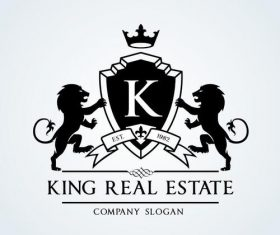 King real estate logo vector