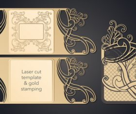 Laser cut template gold stamping style vectors