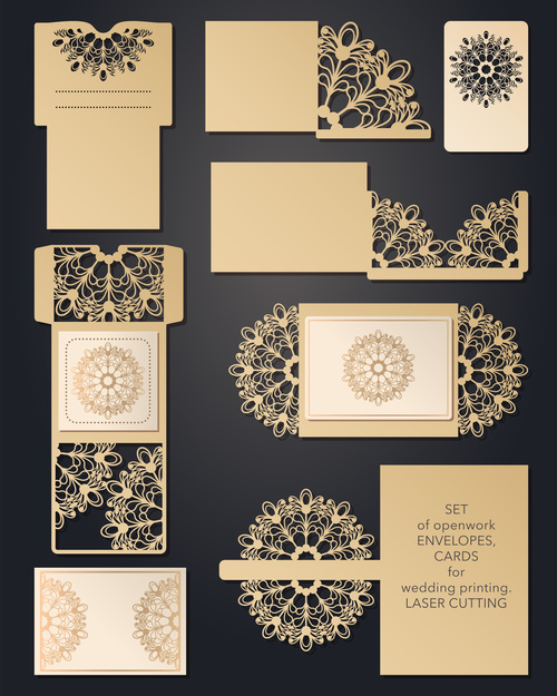 Laser cutting pattern greeting card vectors