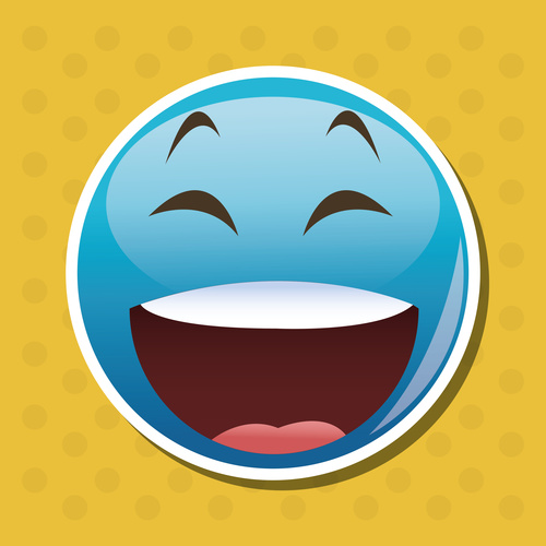 Laugh out loudly emoticon icon vector