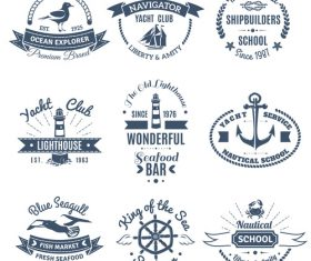 Lighthouse and sailboat label vector