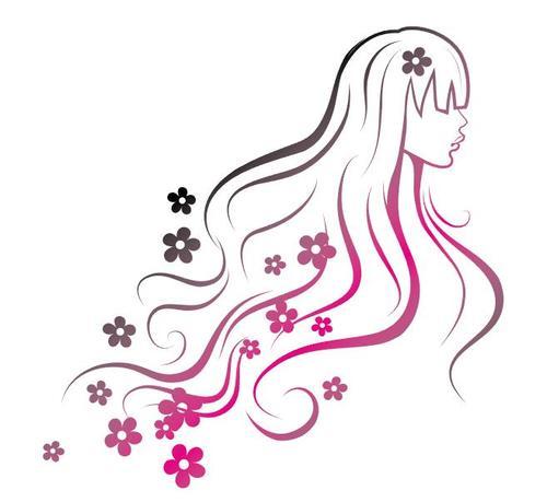 Line girl and flower vectors