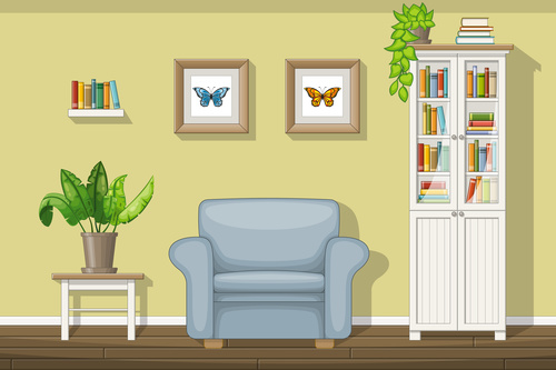 Living room shelves and butterfly specimens on the wall vectors