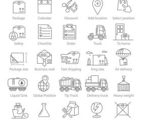 Logisctics and Delivery icons vector