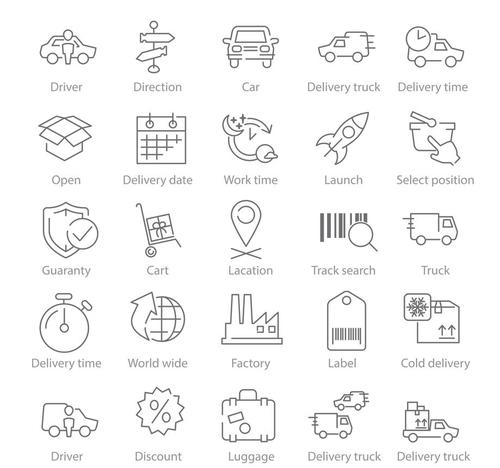 Logistics ad Delivery linear icons vector