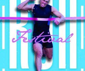 Marathon fest poster and flyer psd template
