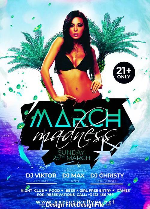 March madness flyer psd template