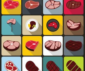 Meat icons flat style vector
