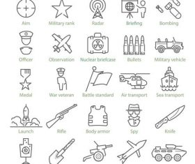 Military theme and war linear icons vector