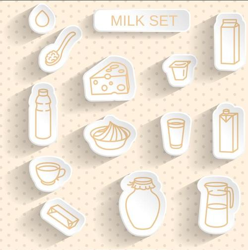 Milk paper stickers with transparent shadow vector
