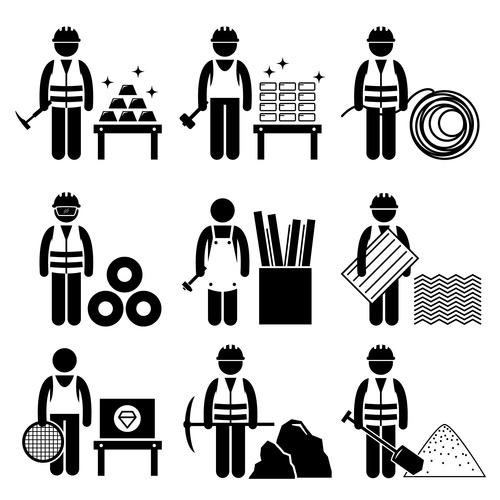 Miner cartoon icon vector