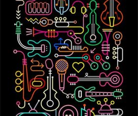 Music neon abstract vector