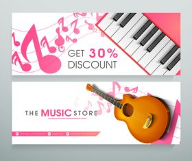 Music store banner vector
