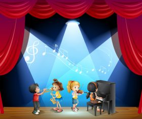 Musical ensemble on cartoon stage vectors