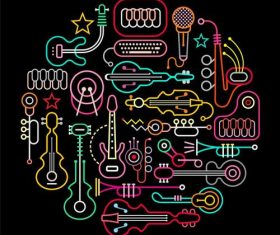 Musical instruments abstract vector
