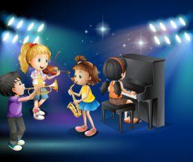 Musical performance of children cartoon vectors