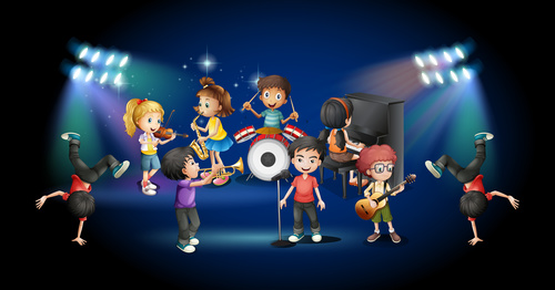 Musical performance of children on stage vectors